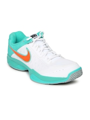 Nike Men White & Green Air Cage Court Tennis Shoes