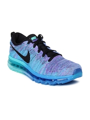 Nike Men Blue & Purple Flyknit Max Running Shoes