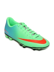 Nike Men Fluorescent Green & Blue Mercurial Vortex FG Sports Shoes
