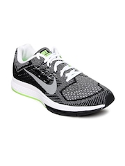 Nike Men Black & Neon Green Air Zoom Structure 18 Running Shoes