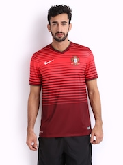 Nike Men Red Striped FPF Jersey T-shirt