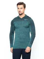 Nike Men Green AS DRI-FIT KNIT LS TOP Hooded Training T-shirt