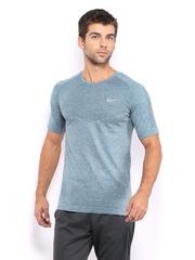 Nike Men Teal Blue & Grey Running T-shirt