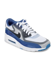 Nike Men White & Blue Air Max 90 BR Sports Shoes