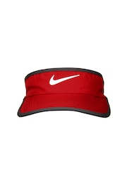 Nike Red & Grey Ws Feather Light Visor Tennis Caps