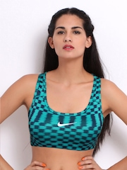 Nike Turquoise Blue & Navy Checked Sports Bra 613603-377