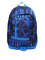 Nike Men Blue & Black Printed Backpack