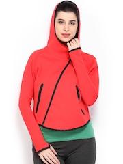 Nike Women Coral Red AS Tech FLC BTTRFLY FZ HO Hooded Jacket