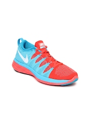 Nike Women Blue & Coral Red Flyknit Lunar2 Sports Shoes