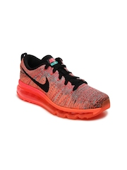 Nike Women Fluorescent Orange Flyknit Max Running Shoes