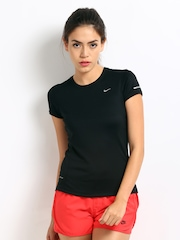 Nike Black Miler Ss Crew    Running  Tops