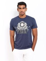 Nirvana Men Navy Melange Printed T-shirt
