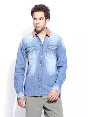 Noble Faith Men Blue Denim Casual Shirt