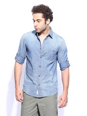 Noble Faith Men Blue Denim Chambray Shirt