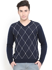 Northern Lights Men Navy Woollen Sweater