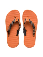Numero Uno Men Black & Orange Flip Flops