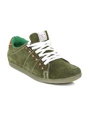 Numero Uno Men Olive Green Suede Sneakers