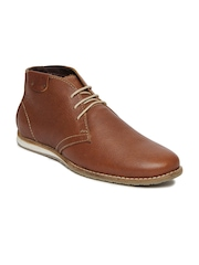 Numero Uno Men Tan Brown Leather Casual Shoes