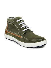 Numero Uno Men Olive Green Suede Casual Shoes