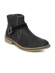 Numero Uno Men Black Leather Casual Shoes