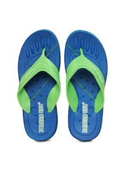 Numero Uno Men Green & Blue Flip Flops