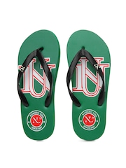 Numero Uno Men Black & Green Flip Flops