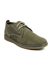 Numero Uno Men Olive Green Leather Casual Shoes