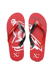 Numero Uno Men Red & Black Flip Flops