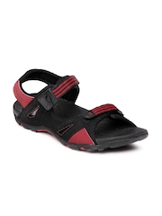 Numero Uno Men Black & Red Sports Sandals
