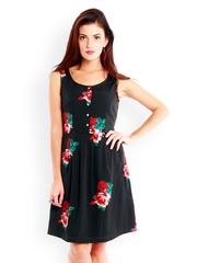 Nun Black Floral Print Fit & Flare Dress