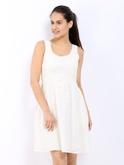 ONLY Off-White Fit & Flare Dress