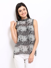 ONLY Women Black & Grey Printed Top