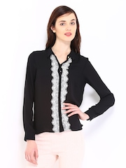 ONLY Women Black Lace Casual Shirt