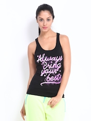 ONLY Play Women Black Printed Tank Top
