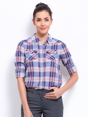 ONLY Women Blue & Pink Checked Shirt