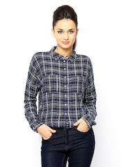 ONLY Women Blue Checked Casual Shirt