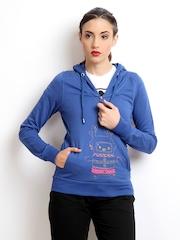 ONLY Women Blue Hooded Printed Sweatshirt