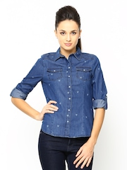 ONLY Women Blue Printed Denim Casual Shirt