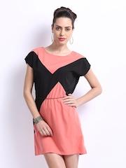 ONLY Black & Peach Coloured Winnie Shift Dress