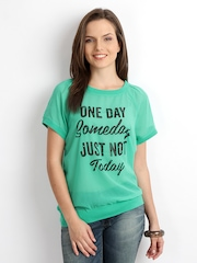 ONLY Women Green Printed Sheer Top