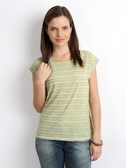ONLY Women Grey & Yellow Striped Top