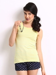ONLY Women Lemon Yellow & Blue Striped Dora Tank Top