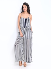 ONLY Women Navy & White Striped Jumpsuit