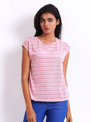 ONLY Women Neon Pink & Grey Striped Top