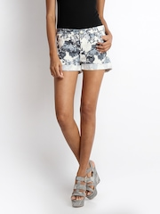 ONLY Women Off-White Floral Print Shorts