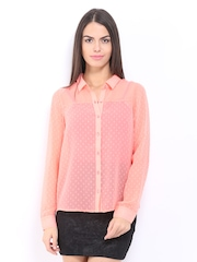 ONLY Women Peach Coloured Ava Dobby Sheer Casual Shirt