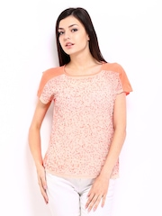 ONLY Women Peach Coloured Sequin Top