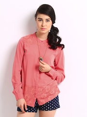 ONLY Women Coral Pink Laura Lace Shirt