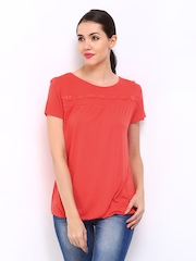 ONLY Women Coral Red Lace Top