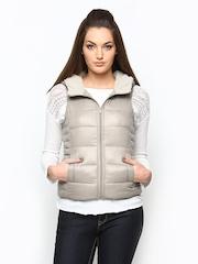 ONLY Women Beige Hooded Sleeveless Jacket